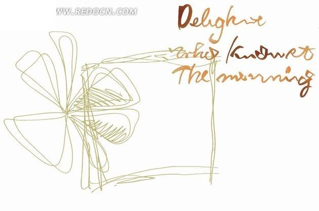 手绘绿色方框和花朵psd素材