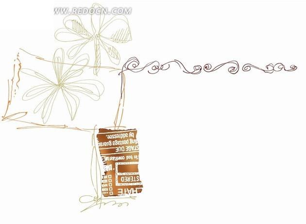 手绘线稿花朵和纸张碎片psd免费下载_花纹花边素材