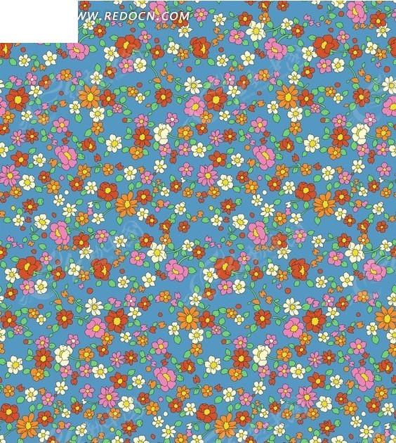 蓝底彩色花朵底纹psd素材图片
