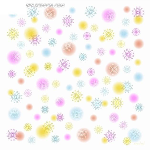 白底手绘彩色花朵底纹psd素材