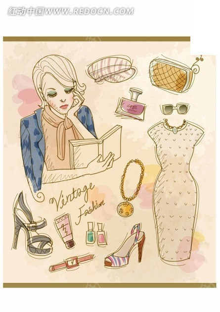 手绘看书的美女和生活服饰矢量素材