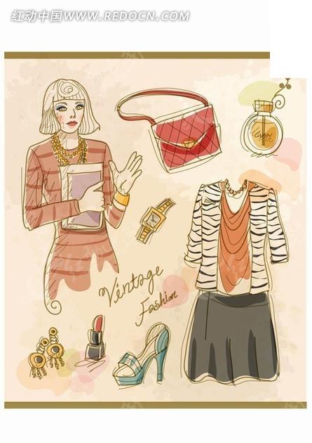 手绘国外美女和服装饰品矢量素材