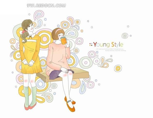 插画—站着的美女和坐着喝茶的美女_卡通形象_红动