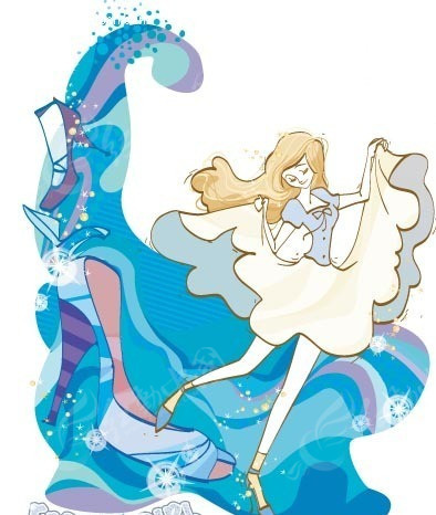 购物插画―蓝色高跟鞋和拉起裙摆的美女矢量图