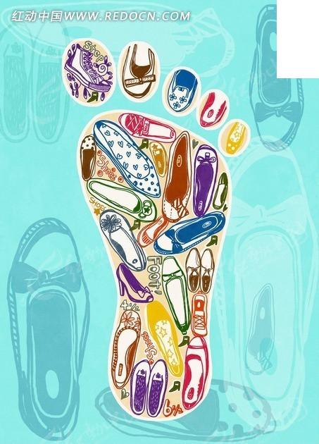 各色鞋子构成的脚印插画psd素材