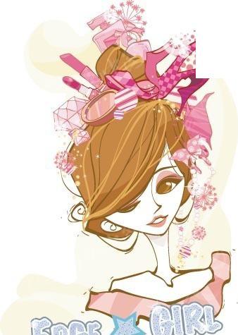 插画―头上戴满化妆品和高跟鞋的美女矢量图