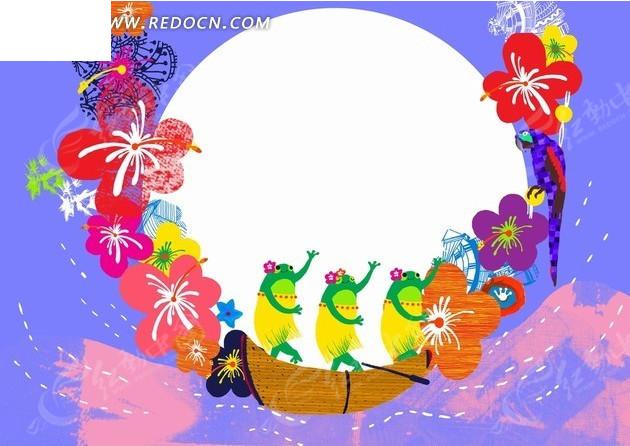 免费素材 psd素材 psd花纹边框 花纹花边 蓝色背景前的圆形和船上的