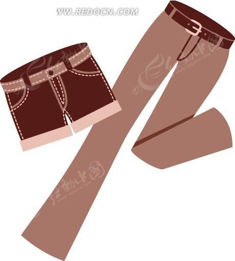 插画 短裤和长裤图片