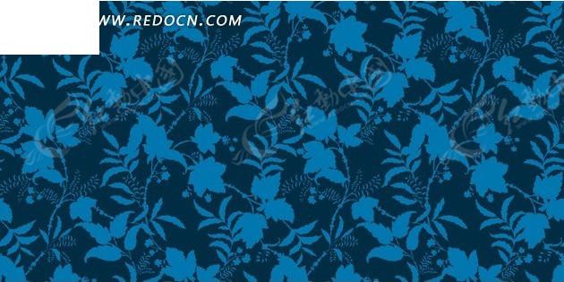 深蓝色底的蓝色枝条花朵底纹psd素材