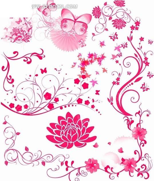 莲花蝴蝶花纹背景图片