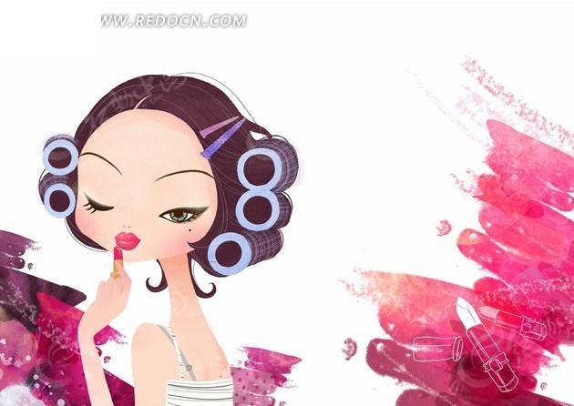 免费素材 psd素材 psd分层素材 卡通人物 插画—卷着头发涂唇膏的美女
