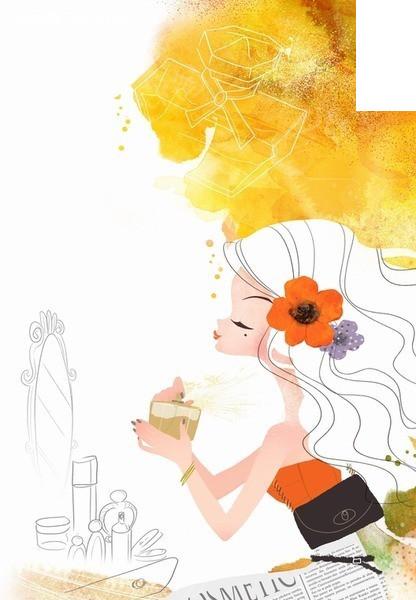 插画 化妆品 喝茶 白发美女 花朵 psd素材 卡通人物 漫画人物 psd分层