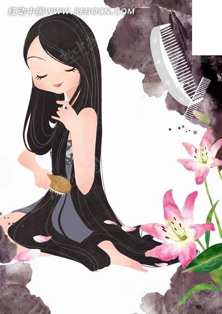 插画―盛开的百合花和梳头的长发美女psd素材
