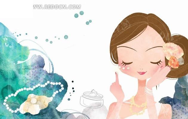 插画—珍珠和闭着眼睛擦珍珠霜的美女psd素材