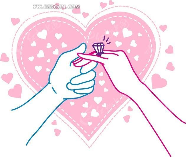 手绘粉色心形前的蓝色手和戴戒指的手