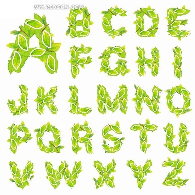 绿色树叶的英文大写字母字体设计图片