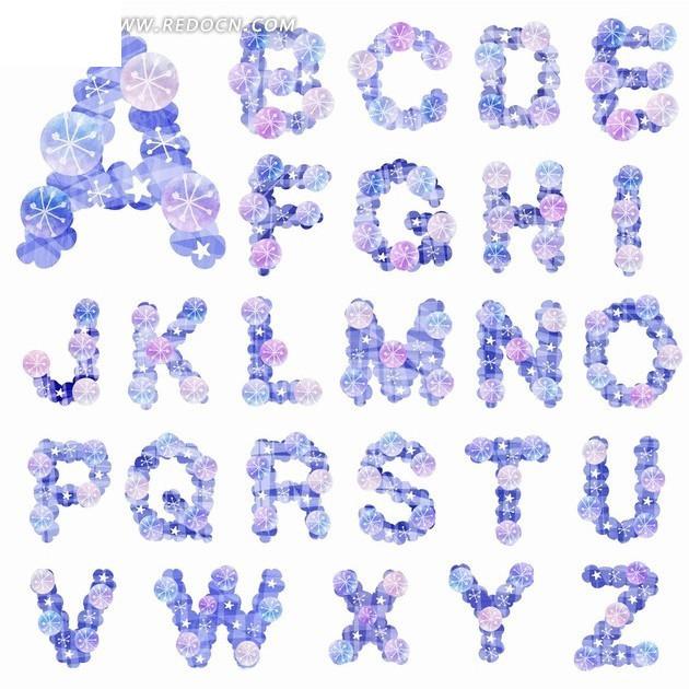 蓝色质感圆形按钮英文大写字母字体设计