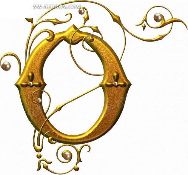 金色的立体字母O矢量艺术字 英文字体