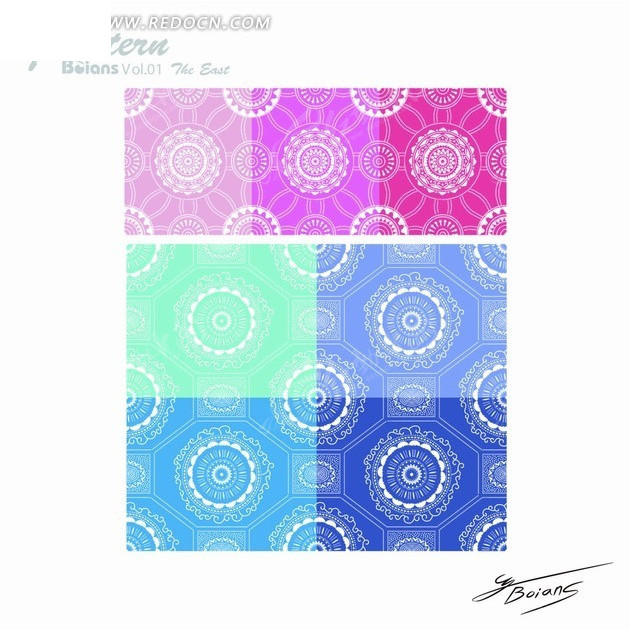 圆形 花纹 线条 蓝色背景 白色花纹 欧式 古典 连续花纹 底纹 矢量