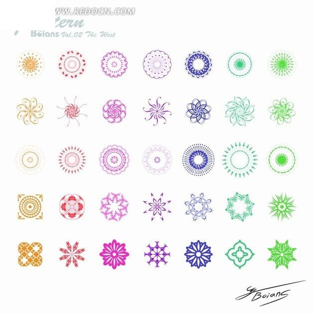 圆形 花纹 雪花 同心圆 花朵 简洁花纹 卷曲的花纹 旋转的花纹 对称