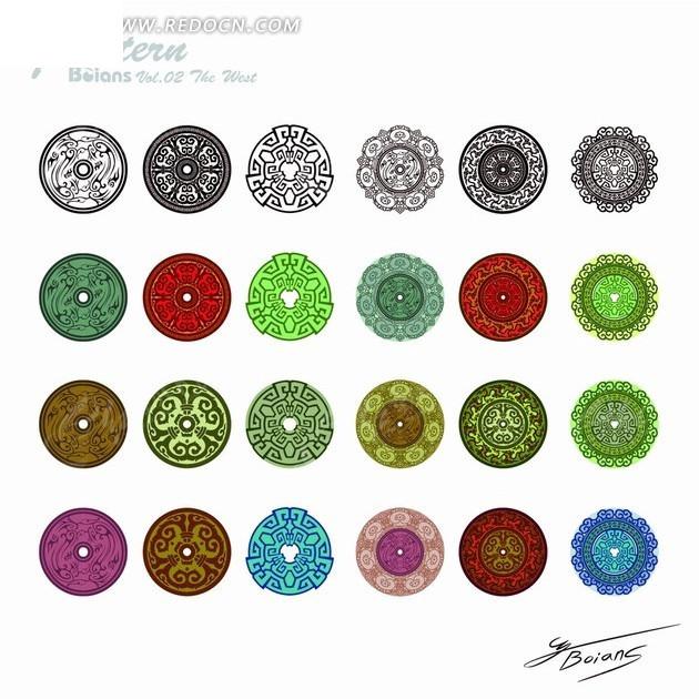 圆形传统花纹图案图片