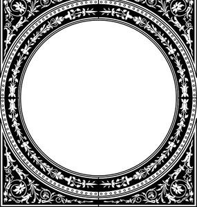圆形和花朵叶子构成的黑白矢量图 精美欧式圆形花纹相框素材 花朵