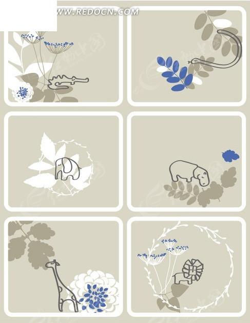 卡通小动物插画手绘的花卉和小动物集合