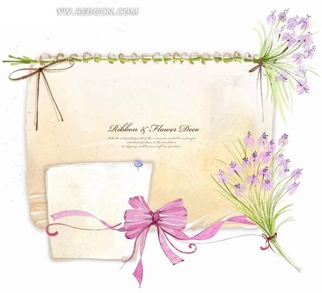 免费素材 psd素材 psd花纹边框 花纹花边 > 卡通紫色花朵彩带插画设计