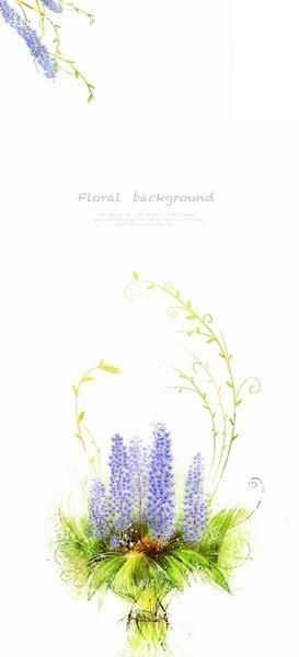 紫色薰衣草手绘花束
