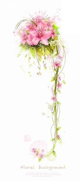 粉色花朵绿色叶子植物插画设计素材