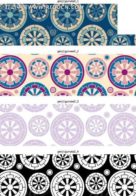 免费素材 矢量素材 花纹边框 印花图案 漂亮的圆形车轮底纹