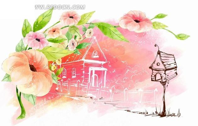 粉色花朵和手绘建筑鸟窝