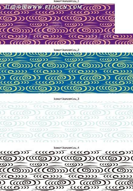 横幅背景插画四款古韵的线描水纹水波