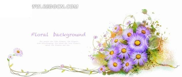 手绘 细长的藤蔓 盛开的菊花 花朵 植物 psd素材 花纹 花纹素材 花边
