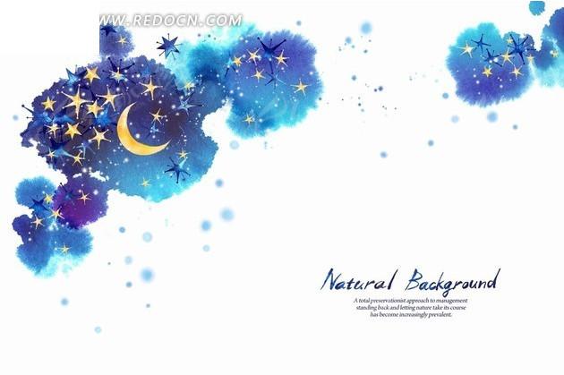 免费素材 psd素材 psd花纹边框 花纹花边 蓝色墨迹和月亮星星插画psd图片