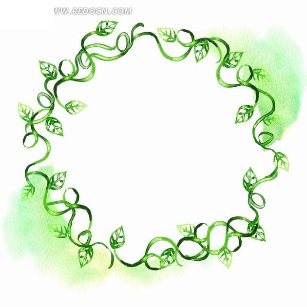 手绘绿色枝条 绿叶 叶子 圆形边框 psd素材 花纹 花纹素材 花边 花边