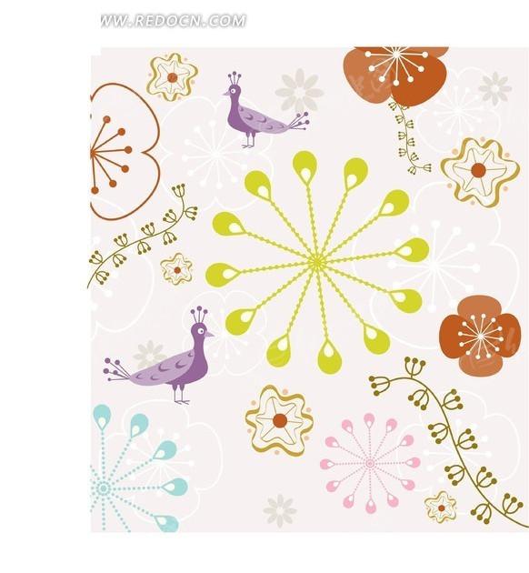 紫色孔雀和可爱花朵花纹背景矢量图