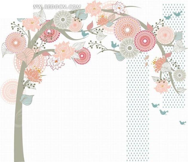 免费花纹底纹圆形素材花朵相框学校淡雅边框矢量素材边框大树设计西宁设计背景图片