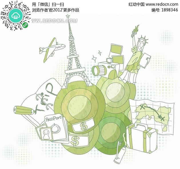 手绘地图和箱子以及旅游建筑
