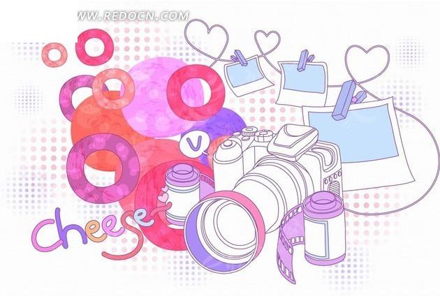 手绘摄影器材和照片以及圆环