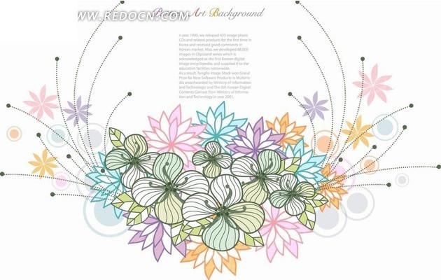 免费素材 矢量素材 花纹边框 花纹花边 手绘弧线和彩色花朵以及同心圆