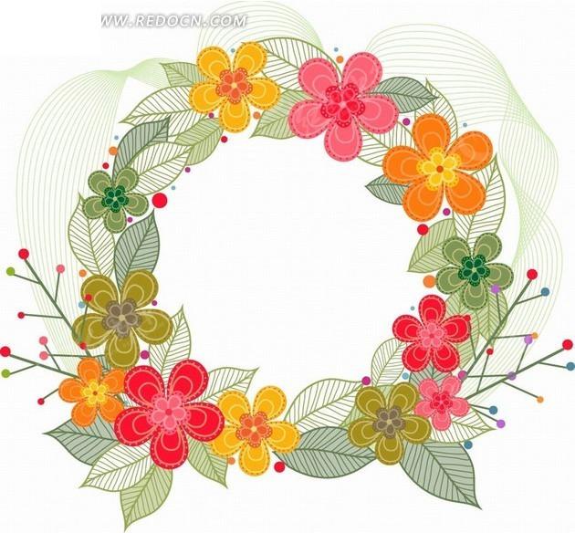 手绘精美花朵花圈花纹设计