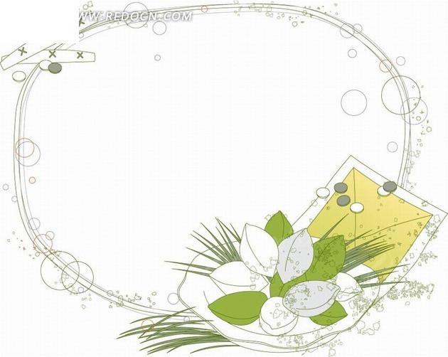 手绘坚果和叶子以及绿叶和边框
