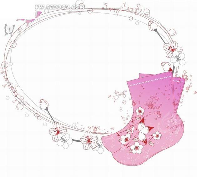 手绘边框和蝴蝶以及花朵和粉色袜子