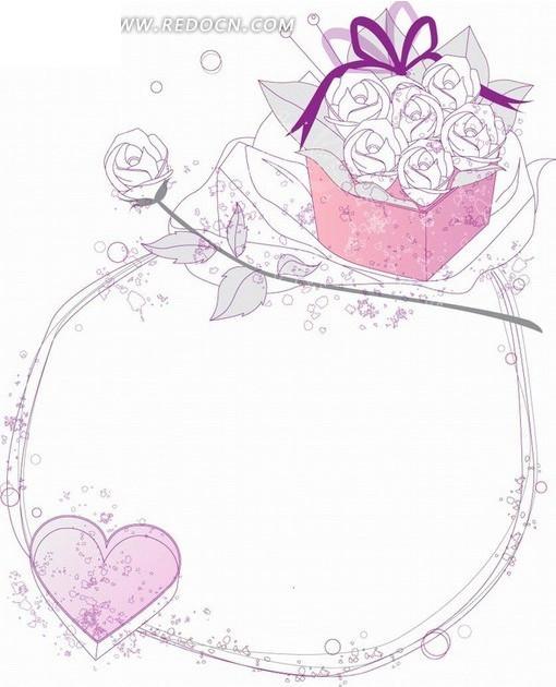 手绘紫色边框和心形以及花朵和礼盒AI素材免费下载 编号1898406 红图片