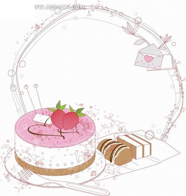 手绘紫色边框和蛋糕以及信封