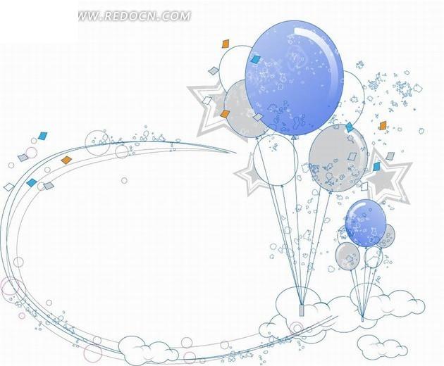 手绘气球和五角星以及蓝色曲线
