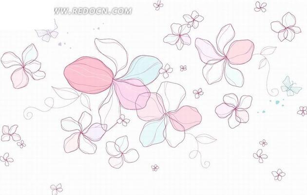 手绘可爱花朵花纹背景设计矢量图图片