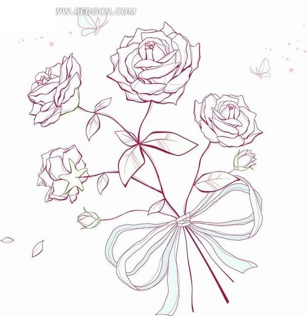 手绘玫瑰花的画法; 手绘花卉 蝴蝶结丝带的玫瑰花矢量图(编号:1898680图片