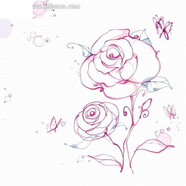 手绘花朵插画线描优美的玫瑰花和蝴蝶